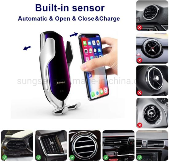 Black 2020  10w R2 qi Fast Charging Infrared Smart Sensor Automatic Clamping Wireless car Charger