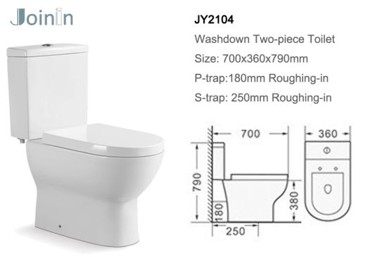 Chaozhou Sanitary Ware Bathroom Ceramic Two Piece Wc Toilet with P-Trap (JY2104) pictures & photos