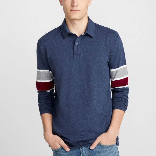 Striped Long Sleeve Mens Shirts Organic Cotton Men Polo Shirts