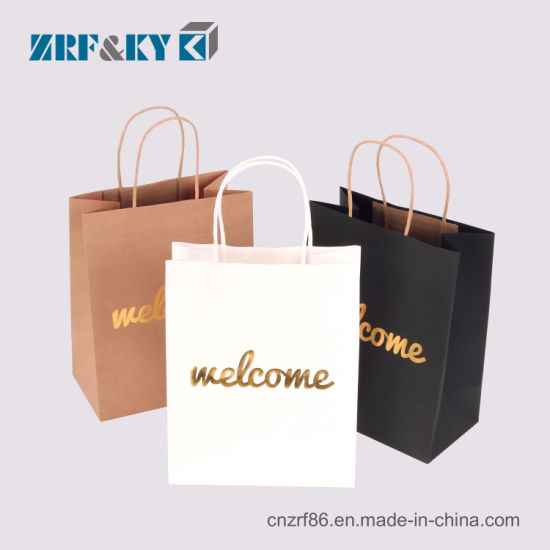 Custom Fashion Recyclable Printed Pattern Packaging White Black Brown Kraft Paper Bags Whole Retail Bulk