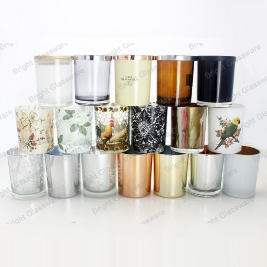 8oz Colorful Candle Jars Inside Spray with Metal Lids Custom Wholesale