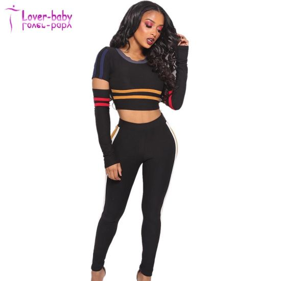0f08a4c45a285a China Black Strippes Ripped Crop Top and Pants - China Top and Pants ...