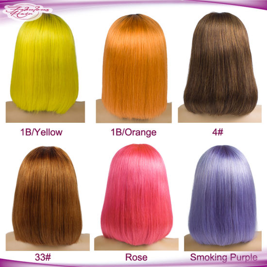 Wholesale Short Brazilian Hair for Black Women Straight Human Hair Color Bob Wigs