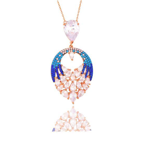 Dubai Costume Jewellery Gold Plated Necklace Jewelry MID East Multicolor Stones Pendant Necklace