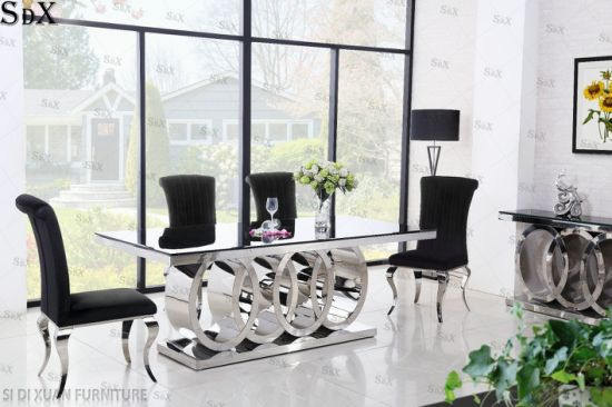 Home Furniture Set Glass Top Table Stainless Steel Base Dining Room Furniture Set Dining Table