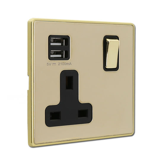 13A Socket with 1 Gang Switch and Double USB Port Electrical Wall Socket