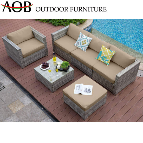 Modern Chinese Garden Outdoor Home Furniture Wooden Rattan Patio Livingroom Lounge Sofa