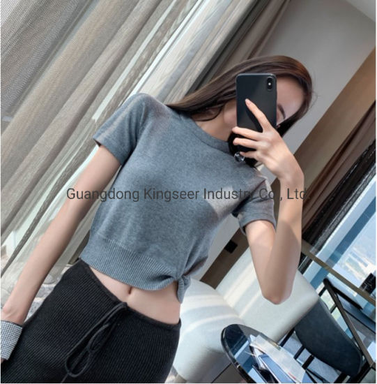 2019 New Design Fashion Women's Round Neck Short Kink Sweater Ladies Pullover T Shirt Wear Clothing