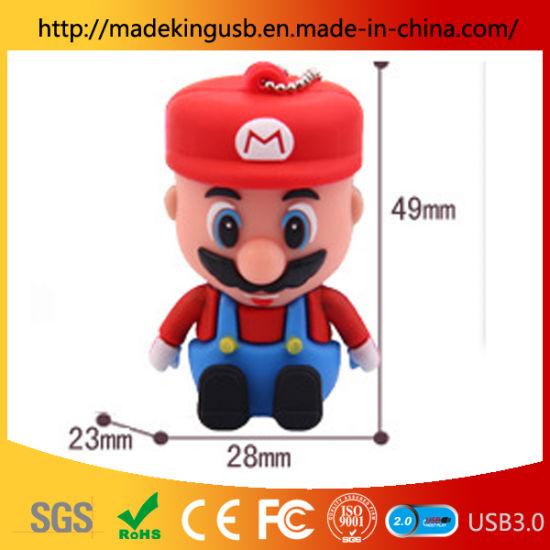 Wholesale Cartoon Mario Doll Animation Creative Silicone Pen Drive Gift USB Flash Drive Mold Customization