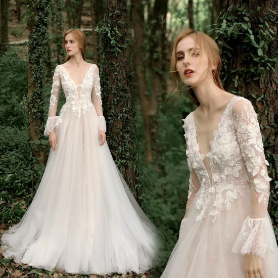 Lace Bridal Gown A-Line Tulle Long Sleeves Beach Garden Boho Travel Wedding Dresses B104
