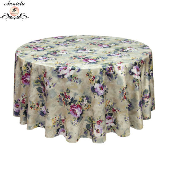 Flower Print on Satin Wedding Home Table Cloth Table Cover pictures & photos