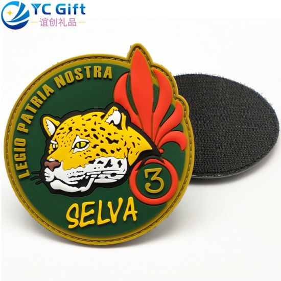 China Factory Supplies Colorful Garment Accessories Cartoon Tiger Flower PVC Rubber Personalized Patches Custom Military Police Uniform Tactical Velcro Patch