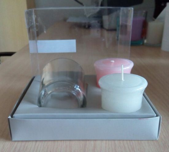 Custom Made Scented Votive Candle and Glass Votive with Holder Gift Box Set Candle