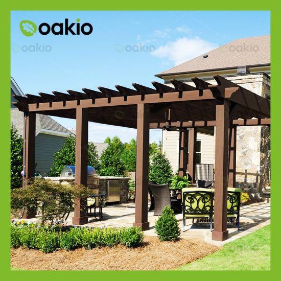 China Classic Reinforced Sanding Outdoor Wood Plastic Composite Pavilion China Wpc Pergola Composite Pergola