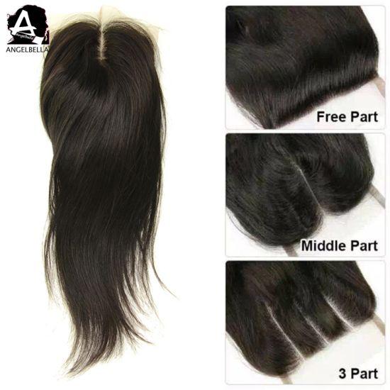 China Angelbella Human Hair Closure Styles Slik Base Lace Closure With Natural Balck Color China Hair Closure And Slik Base Lace Closure Price
