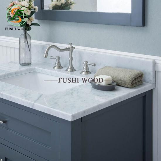 Morden Birch Solid Wood Bathroom Mirror Cabinet in Gray with Porcelain Vanity Top