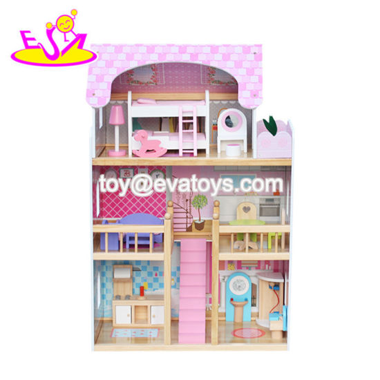 China New Design Big Size Pink Wooden Baby Doll House For Girls
