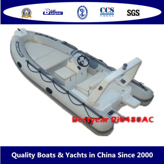 Bestyear 4.8m Small Rigid Inflatable Rib Boat with Hypalon or PVC Tube pictures & photos