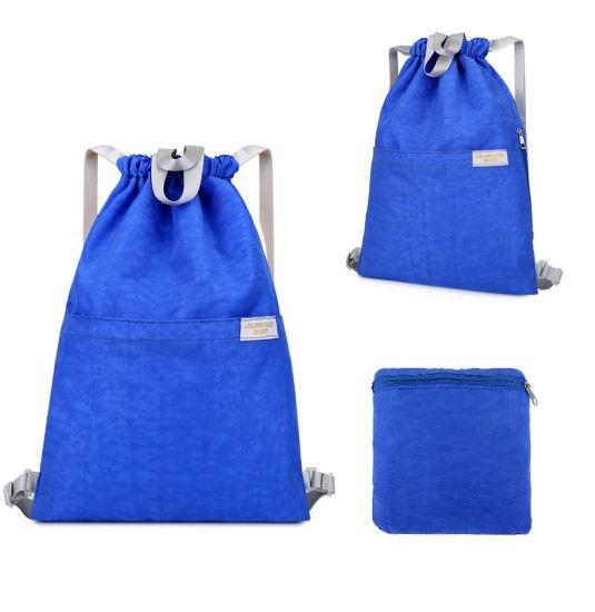 Promotional Custom Printing Logo Polyester Nylon Backpack Eco Friendly Sport Gym Drawstring Bags