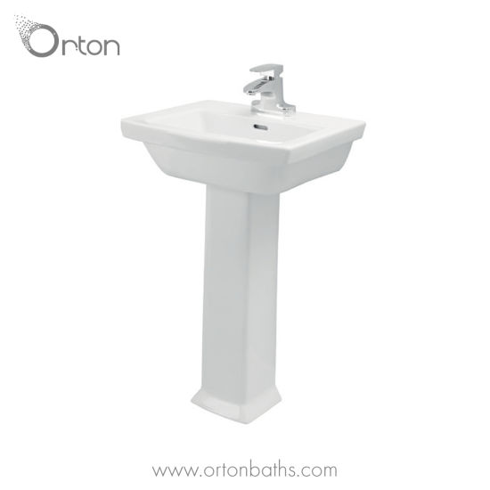 Ceramic Pedestal Bathroom Sink Combo