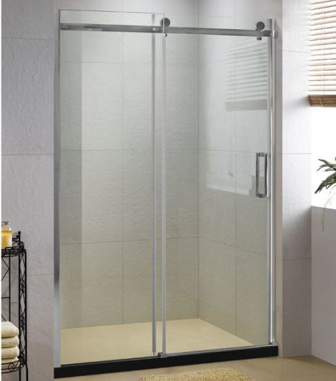 Wheel Sliding Shower Door Wall To Wall Stainless Steel Shower Enclosure