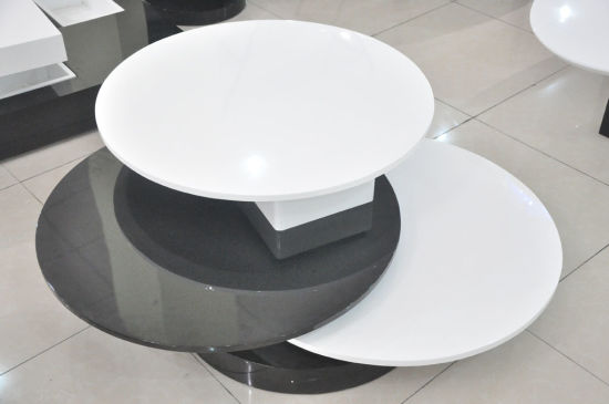China Promotional Home Furniture Turntable White Round Swivel Folding Coffee Table Ya603 China Table Coffee Table