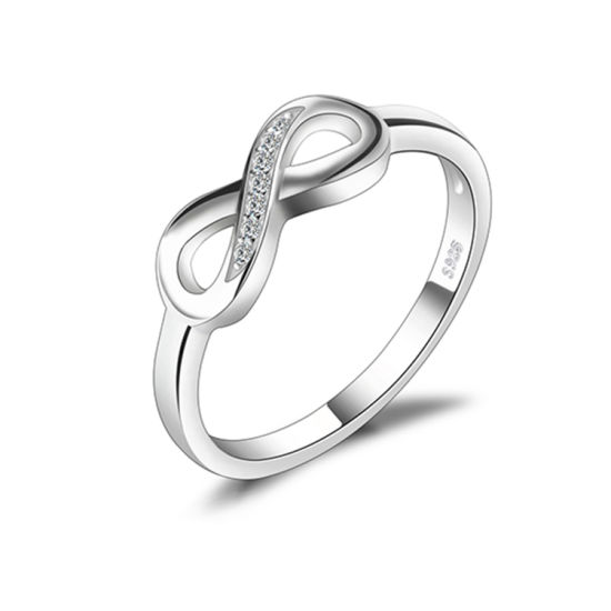 Red Enamel Eternity Heart Wedding Band Ring 14K White Gold Plated 925 Sterling Silver