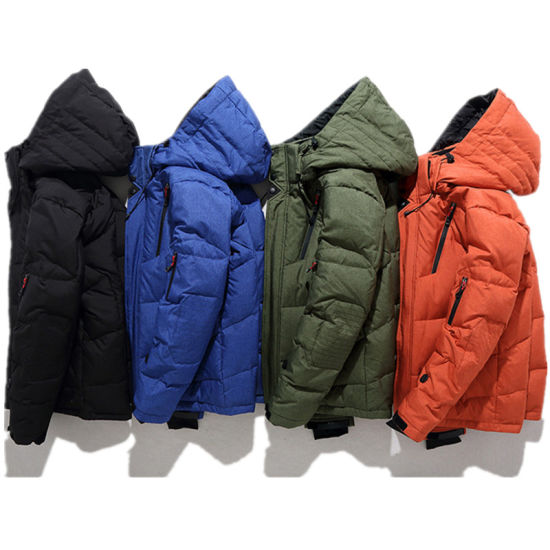 Men High Quality Winter Outdoor Warm Padded Puffer Windbreak Quilted Thicken Duck Down Jacket with Detachable Hood