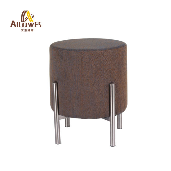 Leisure Coffee Shop Bar Furniture Fabric Seat Stainless Steel Foot Bar Stool Chair