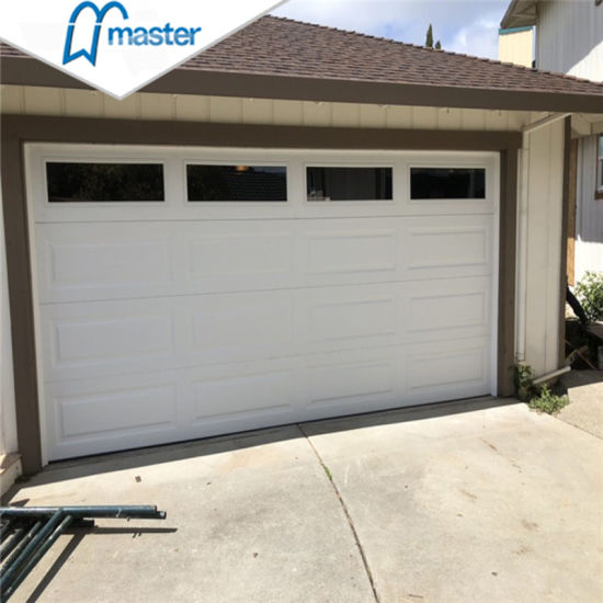 China Professional Double Panel Sectional Garage Door With Windows