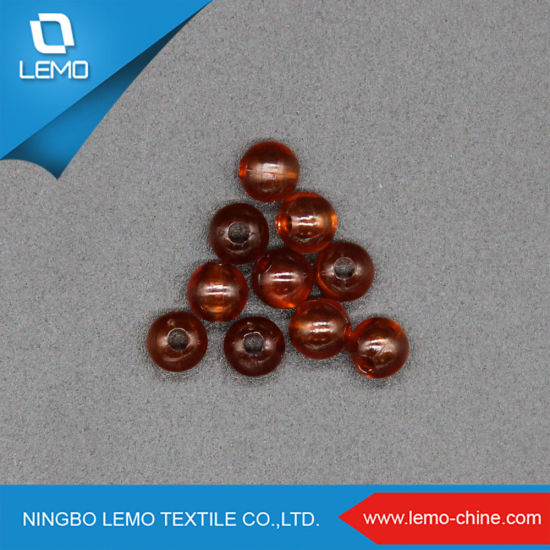 Reddish Brown Color 5mm Spherical with One Hole Plastic Pearl ABS Beads
