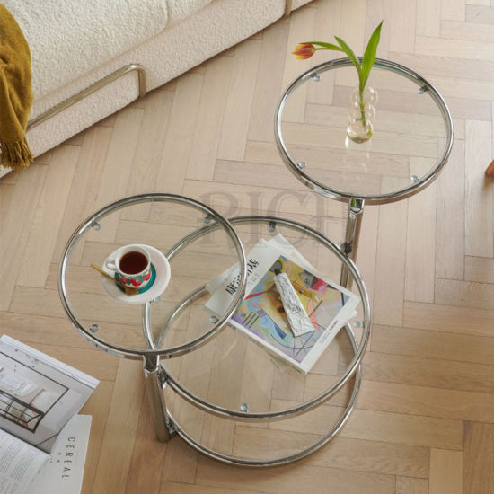 Table Basse Round Glass Tea Coffee Table Modern Luxury Stainless Steel Metal Legs Rotating Glass Coffee Table