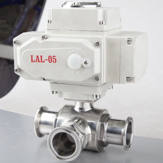 Sanitary Stainless Steel Three Way Valve with Electric Actuator
