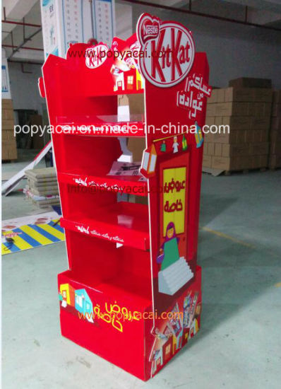 2-Sided Creative Kitkat Chocolate Cardboard Floor Display with 3 Layers, Waterproof Foldable Paper Display Stand pictures & photos