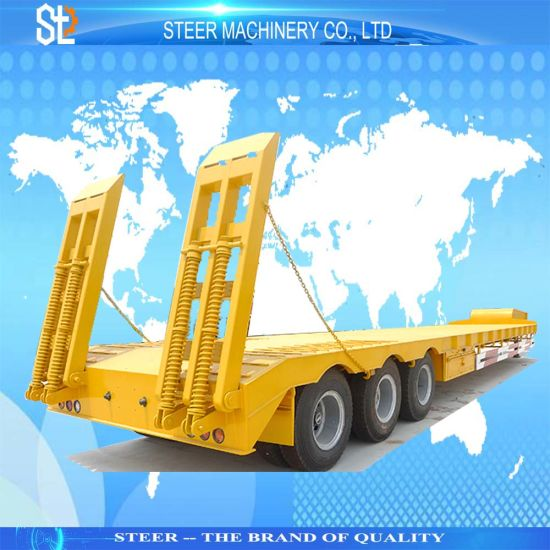 3/4 Axles Heavy Duty Low Loader Use Low Boy Semi Lowboy Truck Low Bed Engine Equipment Machines Transport Truck Lowbed Semi Trailer