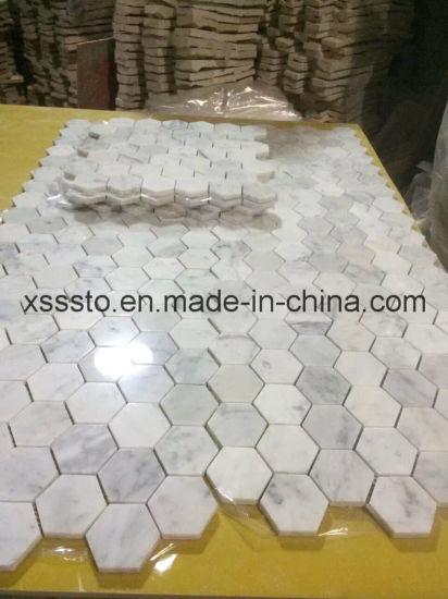 Hexagon Bianco Carrara Marble Mosaic