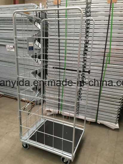 Dipped Galvanized Supermarket and Warehouse Roll Containers Hand Trolley Cart pictures & photos