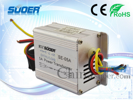 Suoer Car Power Converter 5A Power Supply Converter DC 24V to 12V Step-Down Power Transformer (SE-05A) pictures & photos