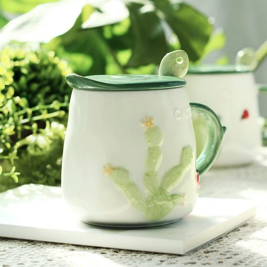 Creative Simple Ceramic Mug with Lid and Spoon pictures & photos