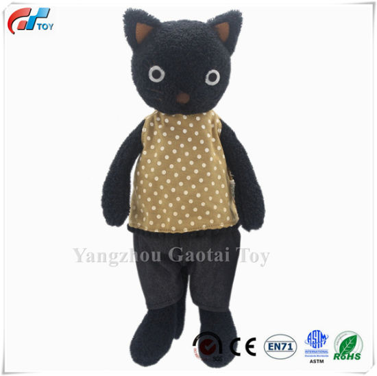 Dressed Stuffed Animals Cat Plush Toys Black 13 Inches