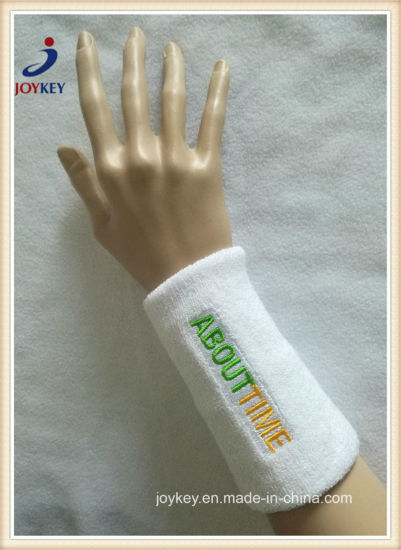 Extended Size Terry Cotton Sweat Wristband with Custom Embroidery Logo