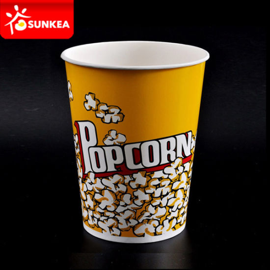 Disposable Custom Logo Printed Yellow Paper Packaging Popcorn Box pictures & photos