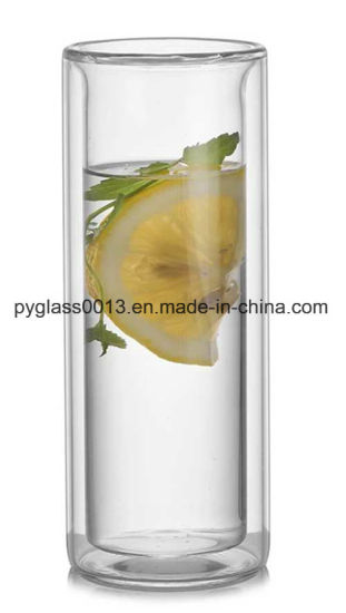 China 200ml / 300ml Clear Double Wall Glass Milk Cup Nescafe