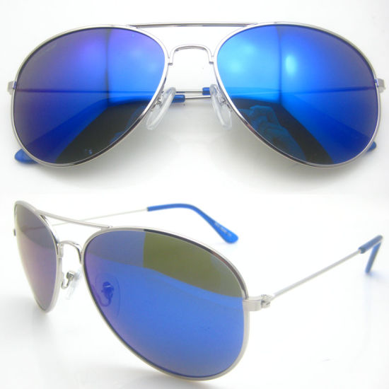 New Fashion Blue Mirror Metal Sunglasses pictures & photos