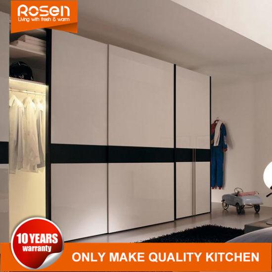 China Painting White And Black Sliding Door Closets Bedroom Wardrobe China Metal Furniture High Gloss Wardrobe