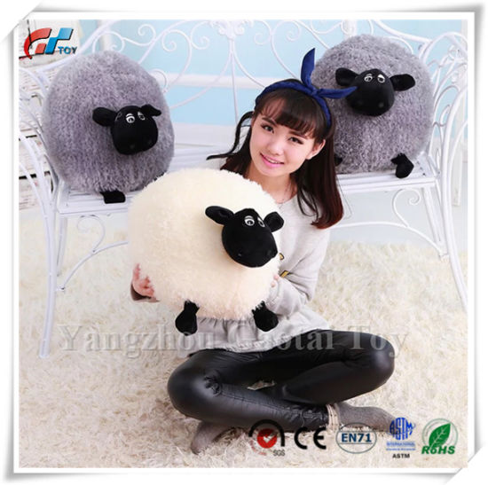 Small Grey Stuffed Fluffy Comfy Fun Sheep Cushion Pillow Toy
