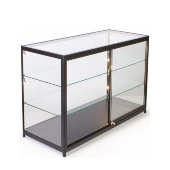Slanted Front Locking Acrylic Display Case Cabinet with 3 Shelves