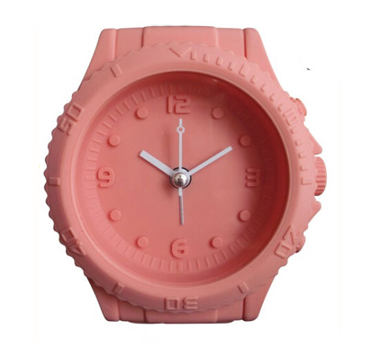 Watch Shape Logo Printed Fashion Mini Silicone Table Clock Desk Clock Alarm Clocks pictures & photos