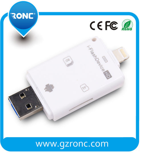 China OTG Memory TF SD Card Reader for Andriod/iPhone Mobile