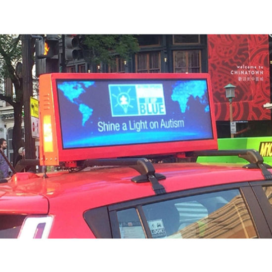 Moving Video LED Billboard, 3G, 4G, WiFi, GPS Transmission RGB Taxi Top Ads LED Display with IP65
